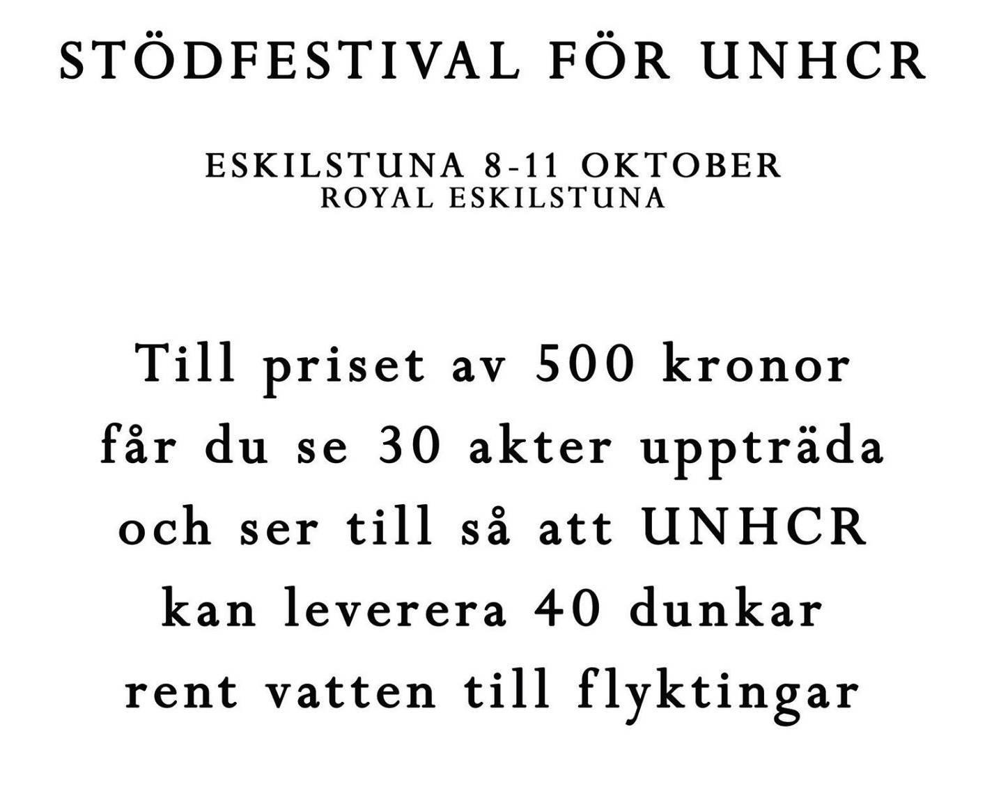 Stödfestival för UNHCR
